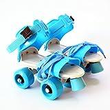 tofree Kinder Zwei Linien Rollschuhe Zweireihig 4Wheel Skating Schuhe Frei Größe Schiebetür Inline Pink Blau Blau