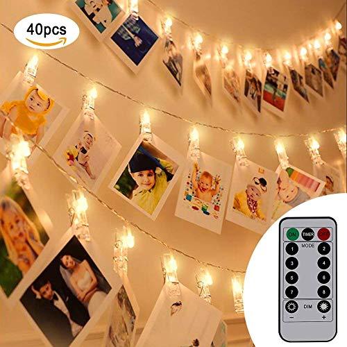 Flintronic catena luminosa, striscia led, molletta, clip foto, 40 foto clips 5m batteria alimentato led immagine illuminazione per attaccatura e decorazione tabella foto, opera d'arte