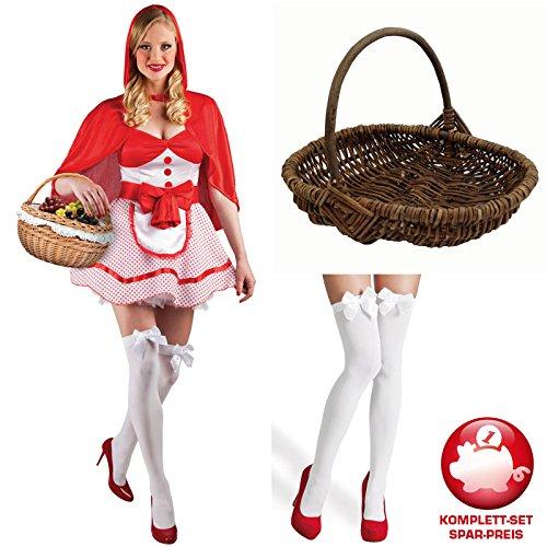 Kostüm-Komplettset Rotkäppchen Cape, Korb, Perücke