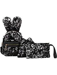 XXYsm Tasche Elegant 3 Stücke Mode Student Schultasche Kinder Teenager Mädchen Pailletten Rucksäcke mit Hasen ohren + Kordelzugbeutel + Handtasche Set