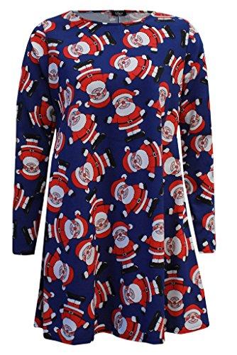 FASHIONCHIC Damen Kleid Santa Boot Blue