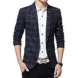 BiShe Mens Plaid Cotton Blend Tweed Blazer Coat Smart Formal Dinner Suits Jacket Men