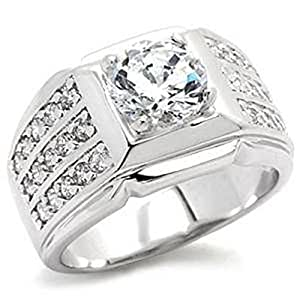 Yourjewellerybox 9X024Pb Men's Channel Set Solitaire Simulated Diamonds Mens Ring Signet Size R