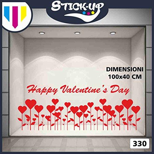 Vetrofanie sanvalentino adesivi sanvalentino - san valentino campo di cuori - decorazioni per sanvalentino adesivi e vetrofanie sanvalentino, vetrine negozi, stickers (rosso)