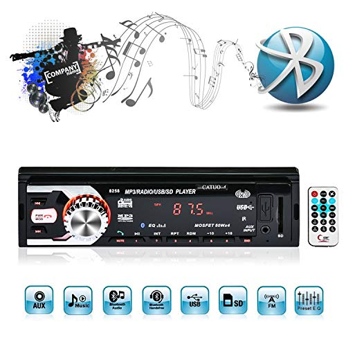 Bluetooth Autoradio MP3, CATUO 1 Din Auto MP3-Tuner/Stereo MP3 Player/Auto Audio MP3, Audio Empfänger/USB/SD/AM/FM/MMC/WMA, LED/LCD-Farbdisplay, Freisprechfunktion mit Fernbedienung