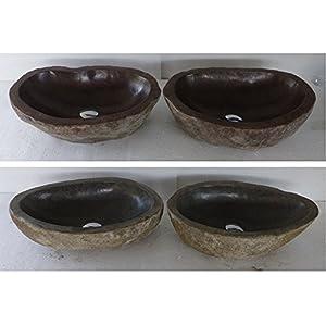 Dos lavabo per bagno en piedra natural, diametro aproximadamente 45 cm. Elección sobre fotos con dimensiones exactas