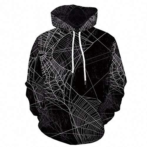 Spinnennetz Bilder Kostüm - Bearbelly Unisex 3D Druck Hoodie Kapuzenpullover Langarm Sweatshirt Kapuzenjacke - Herren Halloween Kostüm Spinnennetz Gedruckt Drawstring Long Sleeve Sweatshirt, S-6XL