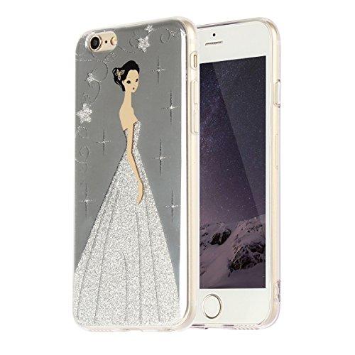 """MOONCASE iPhone 6 Coque, Bling Glitter Etui TPU Silicone Antichoc Housse Case pour iPhone 6 / 6s (4.7"""") (Étoile Fille - Violet) Étoile Fille - Argent"""