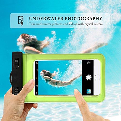 [6.2 pollici] Anfire Custodia Impermeabile Cellulare Impermeabile Universale [Certificazione IPX8] Waterproof Borsa Bracciale Case Cover Impermeabile per Nuoto , Rafting, Surfing, Skating, Pesca , Cam Verde