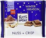 RITTER SPORT Nuss + Crisp (12 x 100g), Vollmilchschokolade mit Haselnusscreme & knusprigen Weizen-Reis-Crisps, für die Winter-Stimmung zu Hause, Tafelschokolade