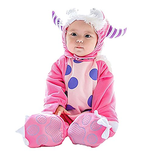 Lazzboy Kostüm Baby Halloween Tierkostüm mit Kapuze Body Footies Strampler Outfit(Höhe 80,Rosa) (Baby Super Mario Kostüme)