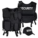 Black Snake SWAT FBI Security Police Agenten Kostüm Einsatzweste und Baseball Cap - XL/XXL - Security