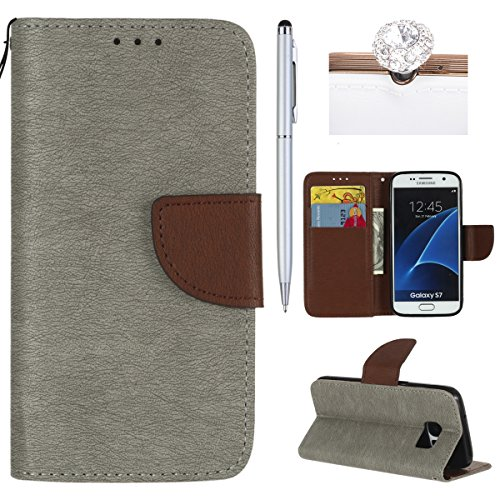 Felfy Coque Etui pour Samsung Galaxy S7,Galaxy S7 Coque Dragonne Portefeuille PU Cuir Etui,Galaxy S7 Etui Cuir Folio Housse Brun Tournesol 3D en Relief Motif Leather Case Wallet Flip Protective Cover  Gris + Brun