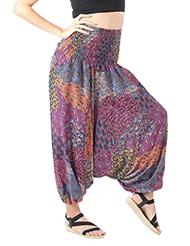 CandyHusky's Drop Crotch 2 in 1 Ladies Harem Trousers Pants & Jumpsuit Summer Festival Hippie Boho Yoga Trousers (Peacock Tail