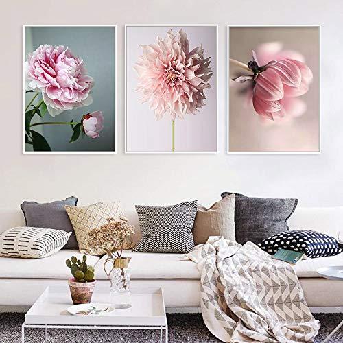 NNN1223 Wasserdicht Nordic Poster Blush Pony Schönheit Leinwand - Malerei Leben Blumen - Wand - Kunst - Plakate und Drucke Wandbilder No Frame 120x60cm (47,2 nach 23,6 in) (Blume Schönheit Blush)