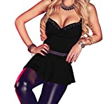 Bling-Bling Charming V Neck Flare Clubwear Top(Black,M)