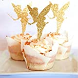 Polka Dot Sky Tinkerbell fairy gold glitter cake toppers cupcake decorations baby shower Bachelorette Party 6 Pack