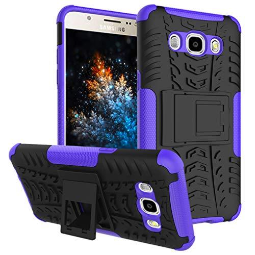 MRSTER Samsung J2 Prime Hülle, Outdoor Hard Cover Heavy Duty Dual Layer Armor Case Stoßfest Schutzhülle mit Ständer Handyhülle für Samsung Galaxy Grand Prime Plus. Hyun Purple