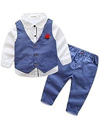 e5bbbe4f88d3 Runyue 3 Pezzo Bambino Ragazzo Tuxedo Outfit Manica Lunga Camicia Smoking +  Gilet + Pantaloni Abiti