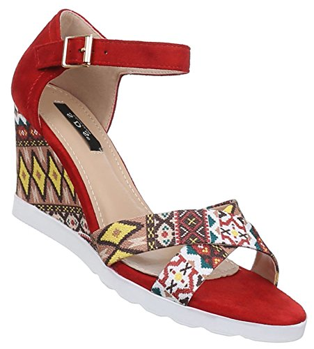 Damen Sandaletten Schuhe Pumps Plateau Heels Stilettos Keilabsatz Wedges schwarz beige rot camel 36 37 38 39 40 41 Rot