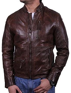 Brandslock para hombre chaqueta de motorista real cuero vendimia marrón