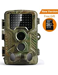 Caméra de Chasse Coolife Caméra de Surveillance Étanche 49 LEDs 16MP 1080P HD 25m Grand Angle 125 ° De Vision Nocturne Basse Luminosité Traque IR Caméra de Jeu Nocturne Infrarouge