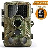 [Versión Actualizada] Cámara de Caza Coolife 16MP 1080P HD Trail Cámara con Visión Nocturna Impermeable IP56 con PIR Infrarrojo Sensor de Movimiento 46 Pcs IR LEDs de 2.4