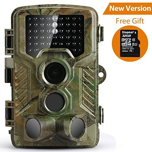 [Versione Aggiornata]Coolife Fotocamera caccia 16MP 1080P HD Macchine Fotografiche da Caccia di Sorveglianza Telecamera Visione Notturna 82ft 46pcs IR LEDs Impermeabile IP56 con scheda microSD da 32GB