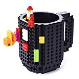VANUODA Build on Brick Mug, Building Blocks Tasse Puzzle Becher, Weihnachten Geschenk Idee (Schwarz)