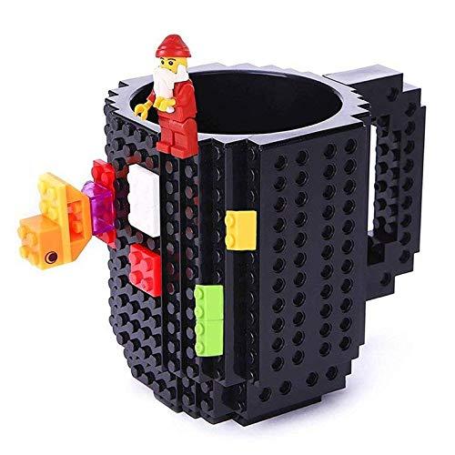 VANUODA Build-on Brick Mug, Tazas Desayuno, Juegos de Construcción, Regalo Ideal para Hombre - Chico - Chicas, Originales Regalo de Pascua (Negro)