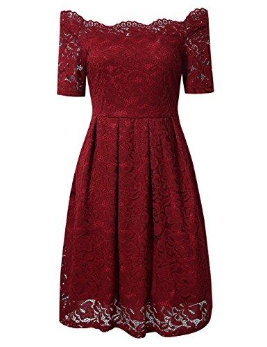 YesFashion Damen Kleid Spitzenkleid Abendkleid Partykleid Knielang A-Linie kurzarm Rot 40/XL