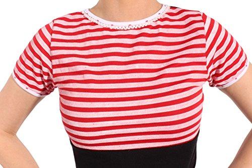 SugarShock Damen 50s Streifen pinup Rockabilly Polka Dots Shirt Rückenfrei schwarz Schwarz
