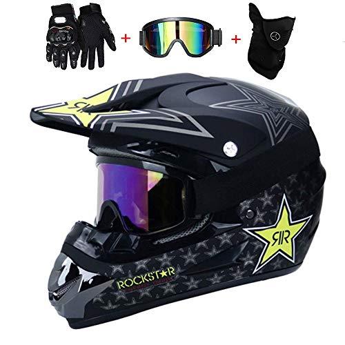 VWBQ Motocross-Helm, Motorrad-Crosshelm, ECE/DOT-Zertifiziert, Mit Schutzbrille, Handschuhen, Maske, Sicherheitsschutz, Offroad-Sturzhelm (52-59 cm)
