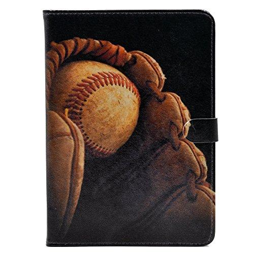 YHB iPad 2017/2018iPad 9,7Zoll Fall, Baseball in Handschuh Vintage Muster Leder Flip Ständer Schutzhülle für Apple iPad 9,7Zoll -