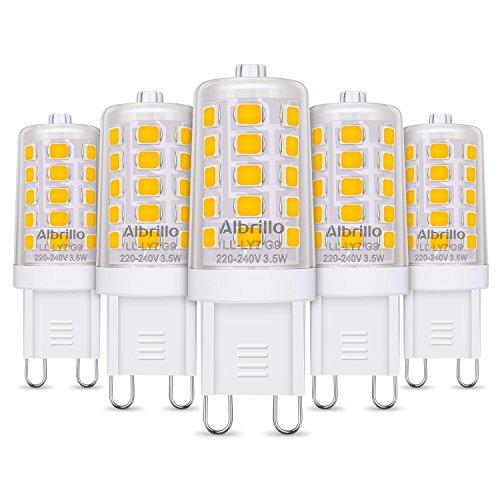 Albrillo 5er Pack 3.5W G9 LED Lampe 350 Lumen, 3000k warmweiß und Kein Flackern G9 LED Leuchtmittel Ersatz 40W G9 Halogenlampe, 360° Abstrahlwinkel[Energieklasse A++]