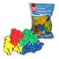 50 HIGH Quality Coloured Coil Plastic Clothes PEGS Bag Clips Washing Drying LINE