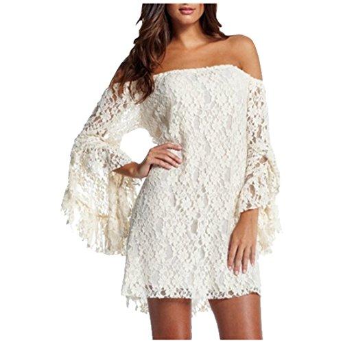 partiss Mesdames dentelle Off épaule Soirée robes Blanc - Blanc