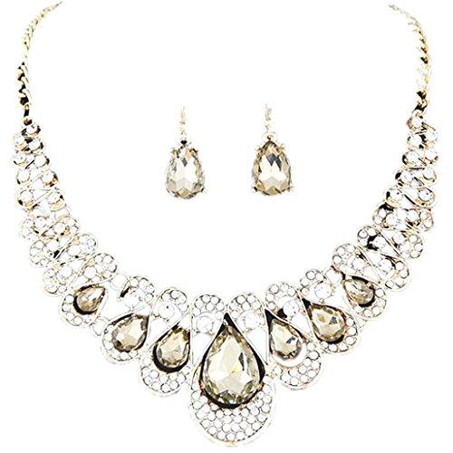 Ba Zha Hei Frau Metall Flash-Bohren Juwel Halsband Halskette Ohrring einstellen Frauen gemischte Art...