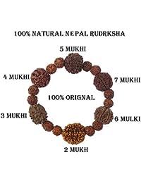 SHI SHANKAR ACCESSORIES Rudraksha Rudrksh 2 3 4 5 6 7 Mukhi Beads Mala Wrist Band Bracelet For Women And Men
