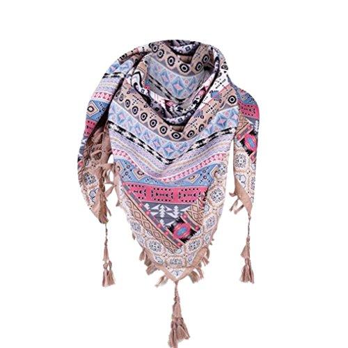 Damen Schal ,TUDUZ Frauen Platz Tücher Mode Drucken Baumwolle-Mischung Herbst Schals mit Quaste 110*110cm (Khaki) (Mischung Wrap Baumwolle)