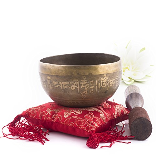 Silent Mind ~ Tibetan Singing Bowl Set ~ Third Eye Design Hand Hammered G Crown Chakra ~ With Dual Surface Mallet and Silk Cushion ~ Promotes Peace, Chakra Healing, and Mindfulness ~ Exquisite Gift