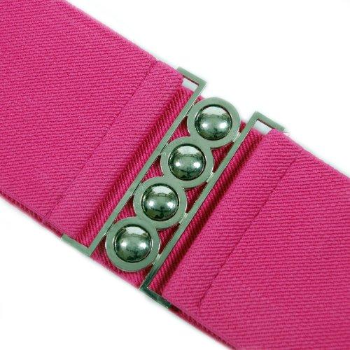 Retro Styler Breiter pinkfarbener Gürtel mit silberner Schnalle - elastisch