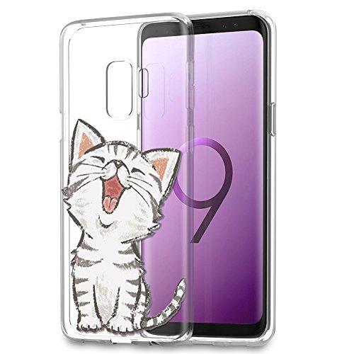 Eouine Samsung Galaxy S9 Plus Hülle, Schutzhülle Silikon Transparent mit Muster Motiv Handyhülle [Ultra Dünn] Stoßfest Weich TPU Bumper Case Backcover für Samsung Galaxy S9 Plus (Lächelnde Katze) -