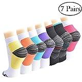 Calcetines de Compresión para Mujeres y Hombres Medias de Compresión 7 pares (7Color, S/M)