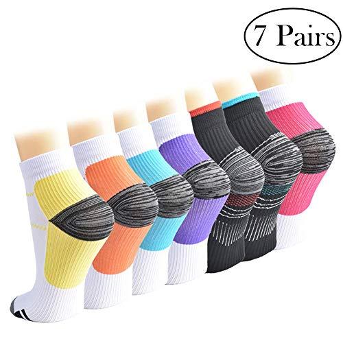 Calcetines de Compresión para Mujeres y Hombres Medias de Compresión 7 pares (7Color, L/XL)