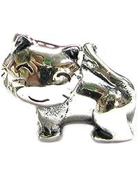 Queenberry Charm en forme chaton 3D pour bracelets de type Pandora en argent sterling