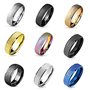 beyoutifulthings funkelnder sandgebürstet Band-Ring Chirurgenstahl 316L Verlobungs-Ring Partner-Ring Trau-Ring 47(15)-69(22)