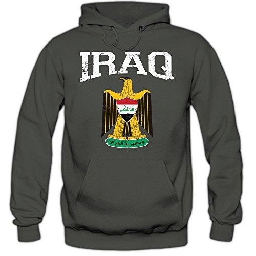 Shirt Happenz Irak Wappen Hoodie Republik Iraq Saladin-Adler Bagdad Herren-Kapuzenpullover, Farbe:Graphit (Light Graphit F421);Größe:M