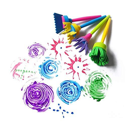 Madlst 4 Stück/Set DIY Malwerkzeuge Zeichnen Spielzeug Blumen Stempel Schwamm Pinsel Graffiti Kunst Malwerkzeuge für Kinder - Blumen-graffiti
