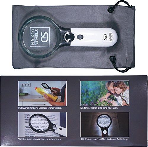 Profi Leselupe 6x Komplett-Set - Hochwertige LED Lupe mit Lese-Licht - 3x und 45x Vergrößerungsglas + Tasche inkl. Zubehör - für Senioren & zum Verschenken - 4